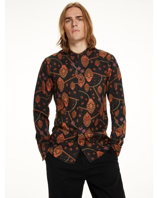 Scotch & Soda | Multicolor Collarless Shirt With Embroidery Slim Fit for Men | Lyst