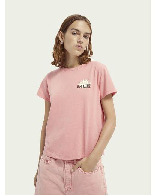 T-shirt à col rond avec logo Scotch & Soda en coloris Pink