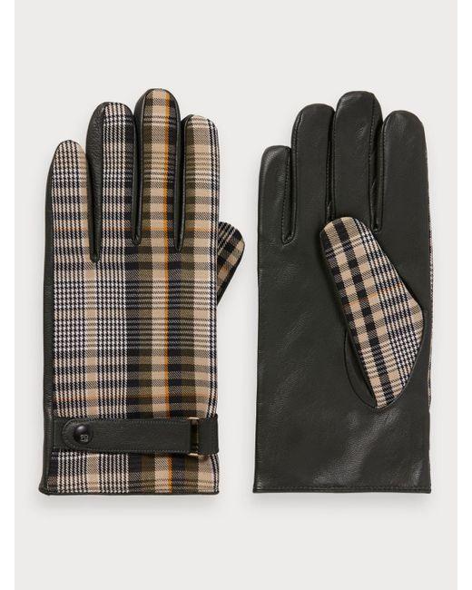 Gants en cuir à motif Scotch & Soda pour homme en coloris Black