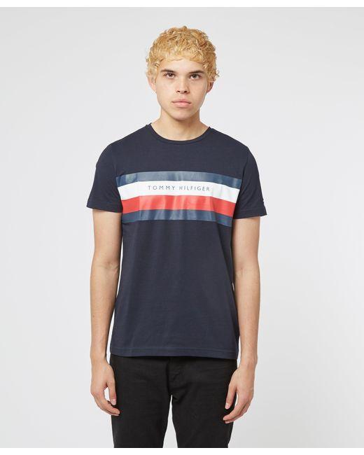 Tommy Hilfiger Blue Chest Stripe Short Sleeve T-shirt for men