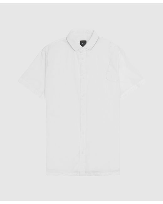 Armani Exchange White Seersucker Short Sleeve Shirt for men