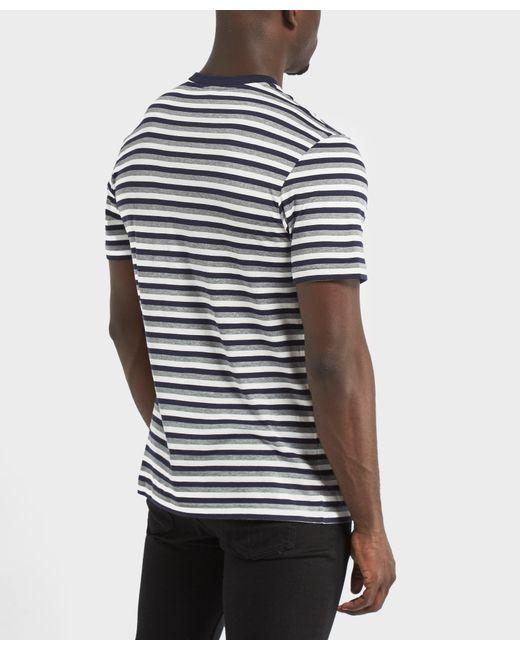 lacoste striped short sleeve crew neck t shrit in blue for. Black Bedroom Furniture Sets. Home Design Ideas