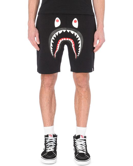 A bathing ape Shark-Print Cotton Shorts in Black for Men ...
