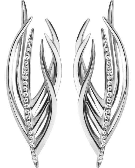 Shaun Leane - Metallic White Feather Silver And Diamond Earrings - Lyst