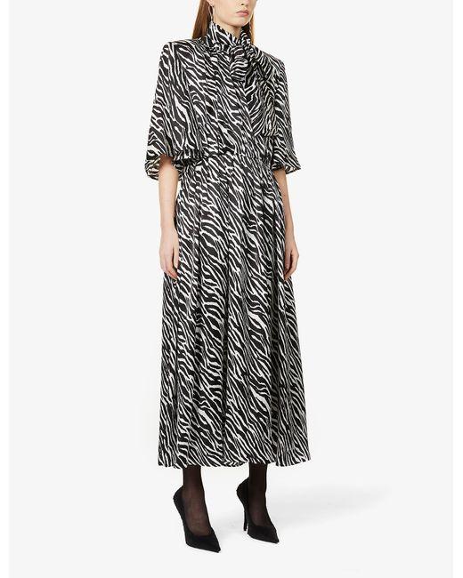 Magda Butrym Black Zebra-print Flared Silk Midi Dress