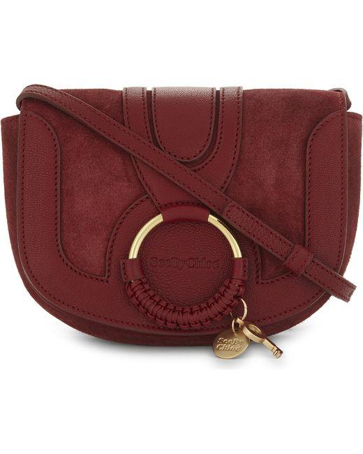 See By Chloé   Red Hoop Suede Saddle Bag   Lyst