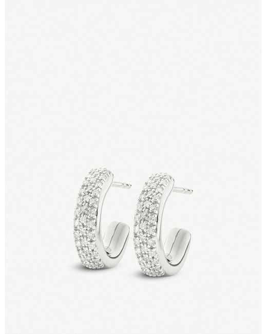 Monica Vinader - Metallic Fiji Mini Hoop Silver And Diamond Earrings - Lyst