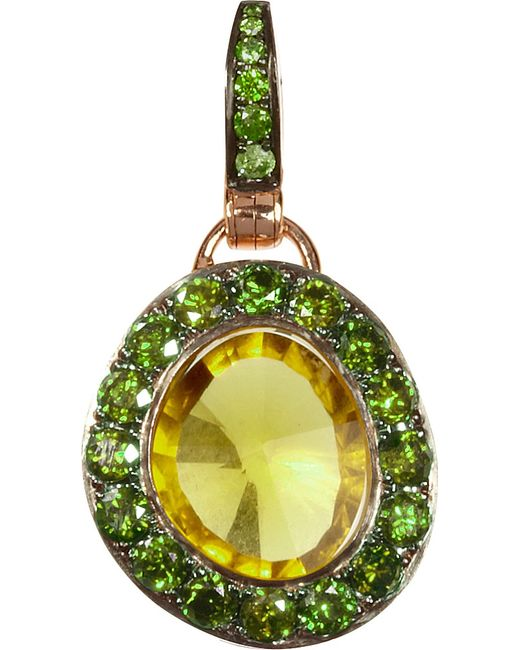 Annoushka   Green Dusty Diamonds 18ct Rose-gold Quartz And Diamond Pendant   Lyst