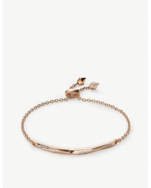 Kendra Scott - Metallic Angela 14ct Rose Gold-plated And Cubic Zirconia Chain Bracelet - Lyst