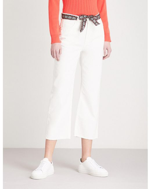 Claudie Pierlot - White Woven-belt Cropped High-rise Jeans - Lyst