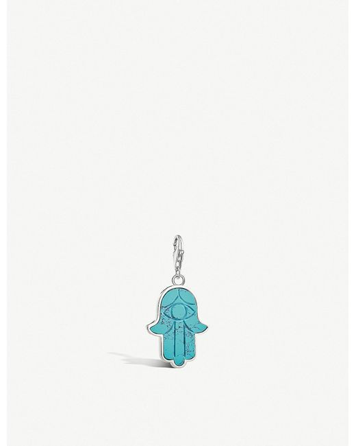 Thomas Sabo - Metallic Charm Club Hand Of Fatima Sterling Silver And Turquoise Charm - Lyst