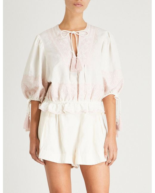 Zimmermann - White Laelia Embroidered Cotton And Linen-blend Top - Lyst
