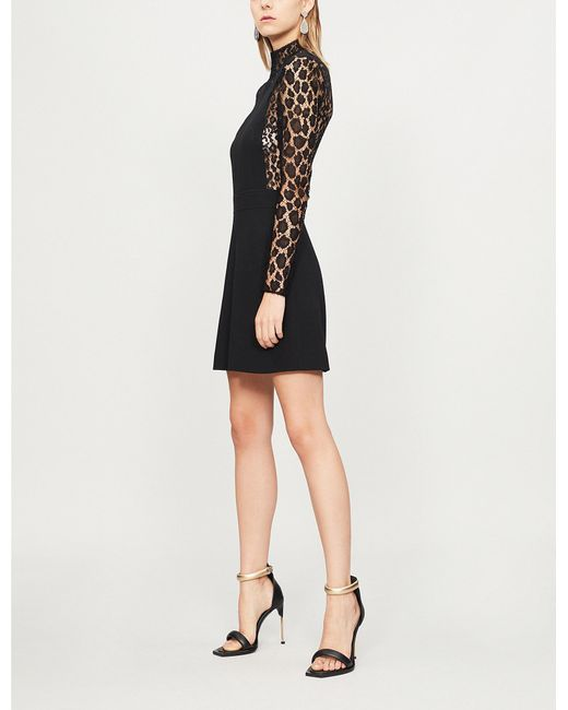 Givenchy - Black Leopard Print-panel Wool-crepe And Lace Dresss - Lyst