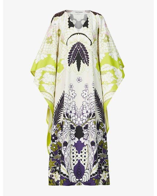 Valentino Multicolor Abstract Tropical-pattern Cotton-poplin Kaftan Dress
