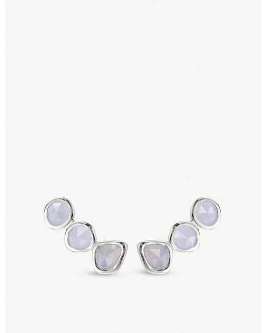 Monica Vinader - Siren Sterling Silver And Blue Lace Agate Climber Earrings - Lyst
