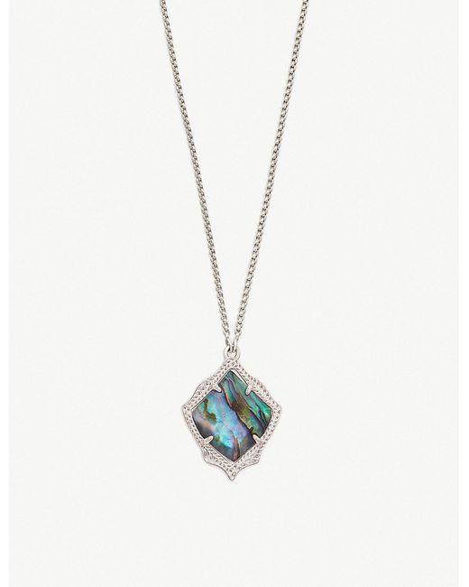 Kendra Scott - Metallic Kacey Rhodium-plated And Abalone Shell Necklace - Lyst