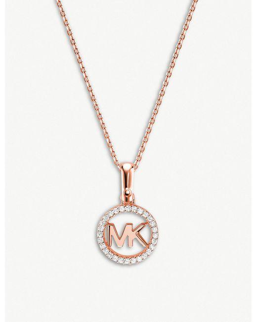 Michael Kors - Metallic Custom Kors Monogram Rose Gold-plated Pave-embellished Necklace - Lyst