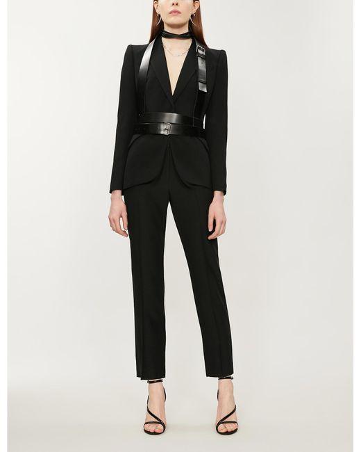 Alexander McQueen Black Padded-shoulders Long-sleeved Crepe Jacket