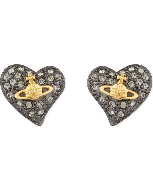 Vivienne Westwood | Metallic Tiny Diamanté Heart Studs | Lyst
