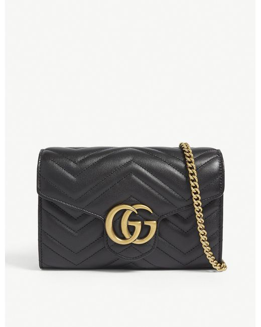 Gucci Black GG Marmont Leather Wallet On Chain