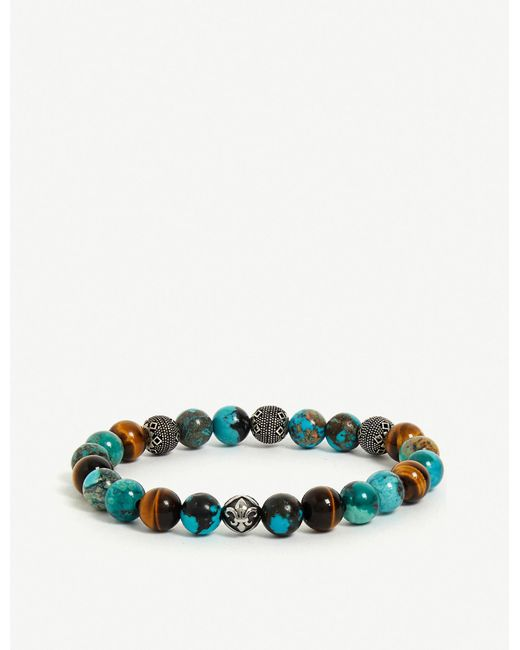 Nialaya Blue Wristband With Bali Turquoise, Tiger Eye And Indian Silver for men