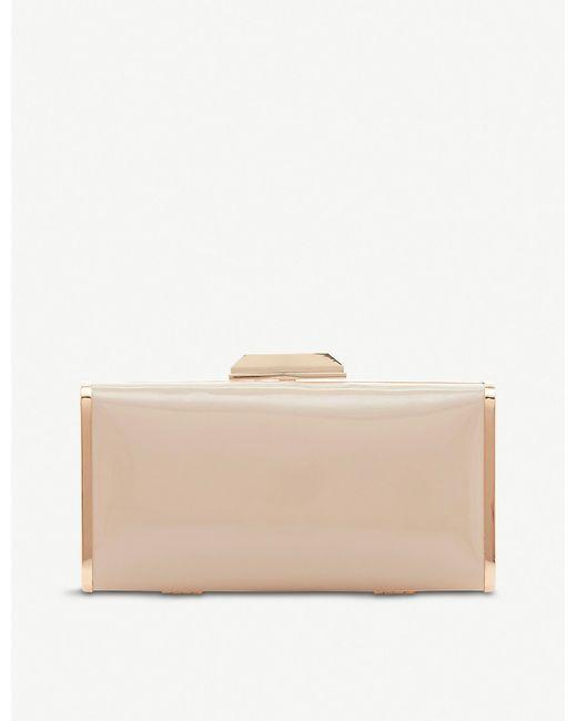 Dune Natural Boxiee Metal Trim Clutch Bag