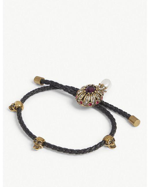 Alexander McQueen - Black Jewel Charm Nappa Leather Bracelet for Men - Lyst