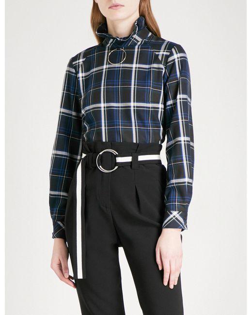 Claudie Pierlot | Blue Hoop Ring-detail Checked Flannel Shirt | Lyst