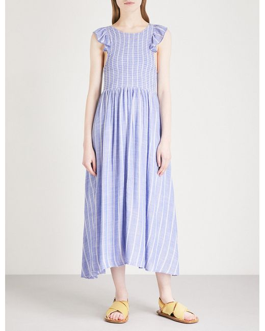 Free People - Blue Striped Capped Sleeved Dress - Lyst