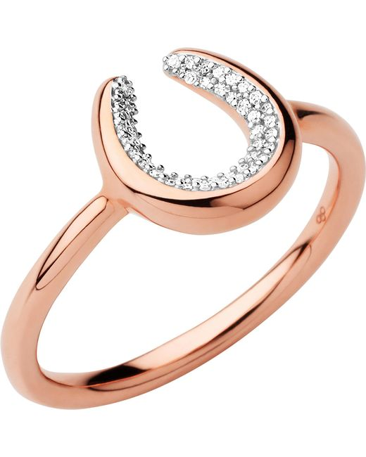Links of London | Metallic Ascot Diamond Essentials 18ct Rose Gold Vermeil Horseshoe Ring | Lyst