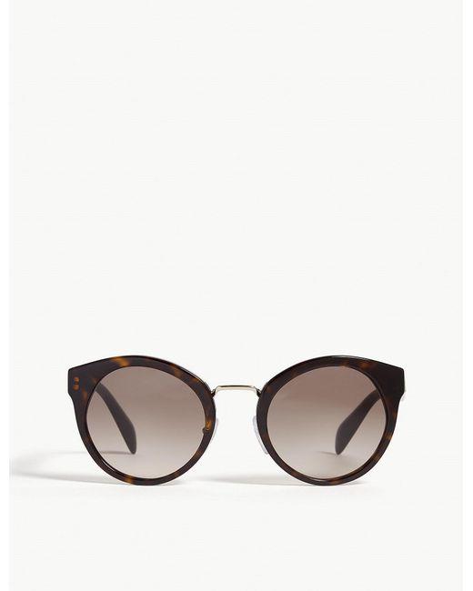 Prada - Womens Brown Pr05t Havana Round-frame Sunglasses - Lyst