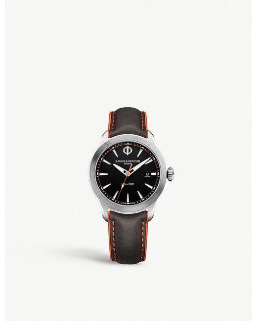 Baume & Mercier - Brown Clifton Stainless Steel And Leather Watch for Men - Lyst