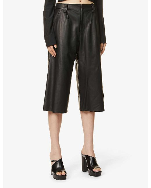 Christopher Esber Black Charli Straight-leg High-rise Leather Shorts