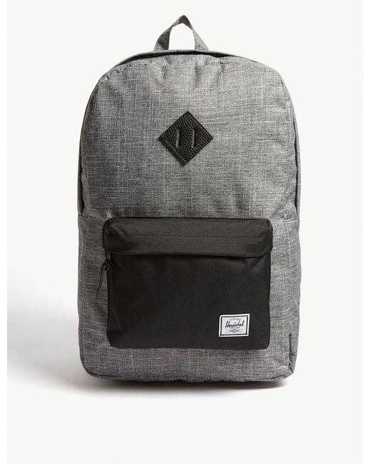 Herschel Supply Co. - . Raven Crosshatch Dark Grey And Black Woven Heritage Canvas Backpack for Men - Lyst