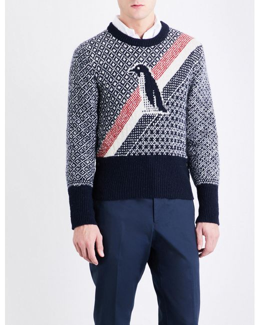 Lyst - Thom browne Crewneck Pullover With Penguin Icon Fair Isle ...