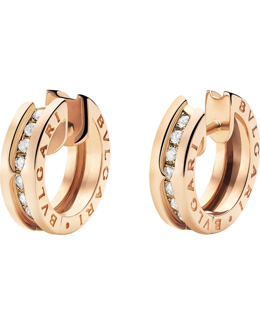 BVLGARI - Metallic B.zero1 18kt Pink-gold And Diamond Small Hoop Earrings - Lyst