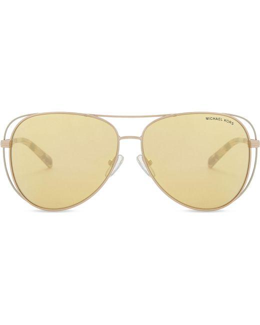 bc6335c8bf Lyst - Michael Kors Mk1024 Aviator Sunglasses in Yellow