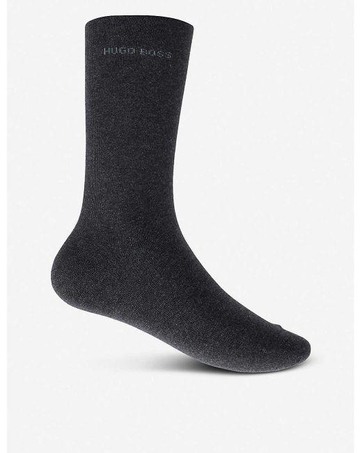 BOSS by Hugo Boss Gray Pack Of Two Plain Socks for men