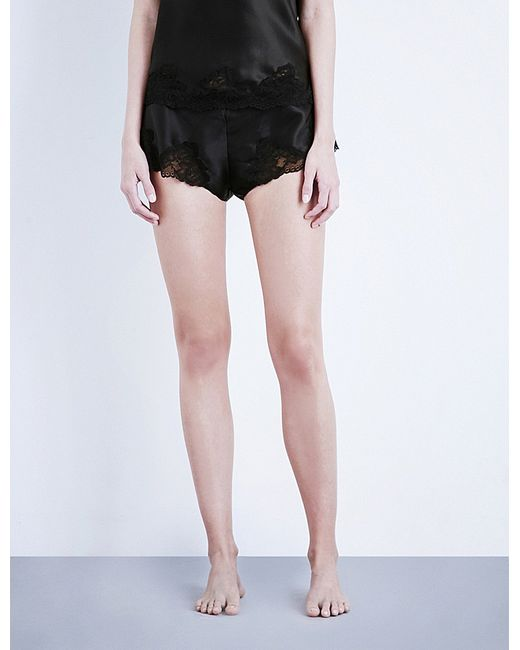 Nk Imode | Black Morgan Stretch-lace And Silk-satin Pyjama Shorts | Lyst