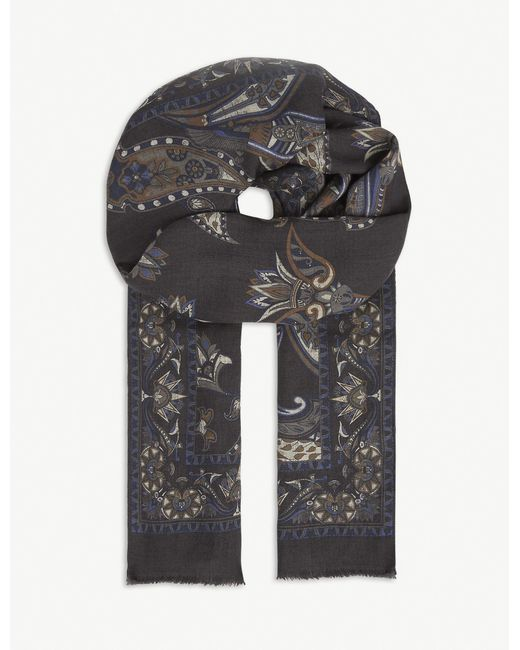 Eton of Sweden Gray Patterned Wool Scarf for men