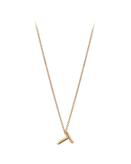 The Alkemistry | Metallic Kismet By Milka 14ct Rose-gold Initial T Necklace | Lyst