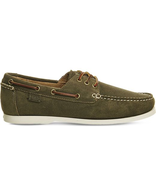 pink pony bienne ii suede boat shoes in green for