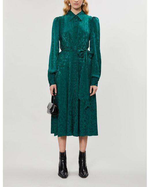 Kitri Green Alicia Leopard-print Crepe Midi Dress