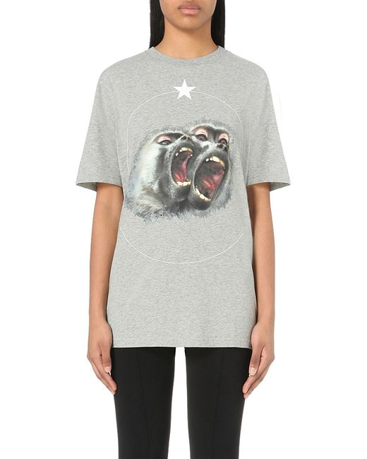 Givenchy | Gray Monkey-print Cotton-jersey T-shirt | Lyst