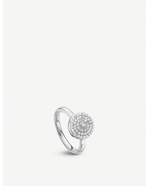 Monica Vinader Metallic Fiji Large Button Sterling Silver And Diamond Stacking Ring