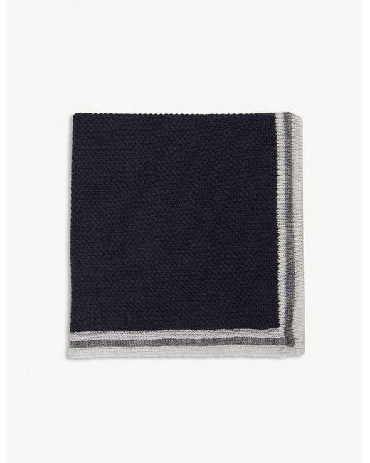 Canali - Blue Solid Border Wool Pocket Square for Men - Lyst