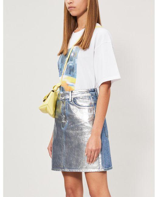 4692c9bff5 Sandro Kennah High-rise Metallic Denim Skirt in Metallic - Lyst