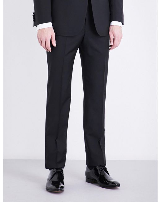 Richard James - Black Regular-fit Tapered Mid-rise Wool And Mohair-blend Trousers for Men - Lyst