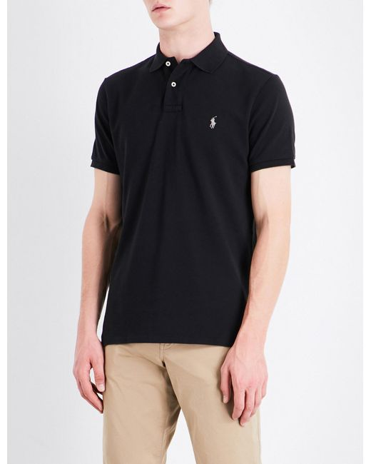 9182ab6cb Lyst - Polo Ralph Lauren Custom-fit Cotton-pique Polo Shirt in Black ...