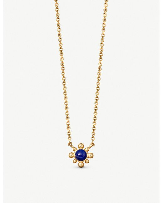 Astley Clarke - Metallic Floris Mini 18ct Yellow Gold-plated Lapis Pendant Necklace - Lyst